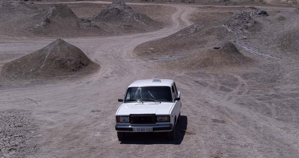 Soviet-style taxi near the mud volcanoes