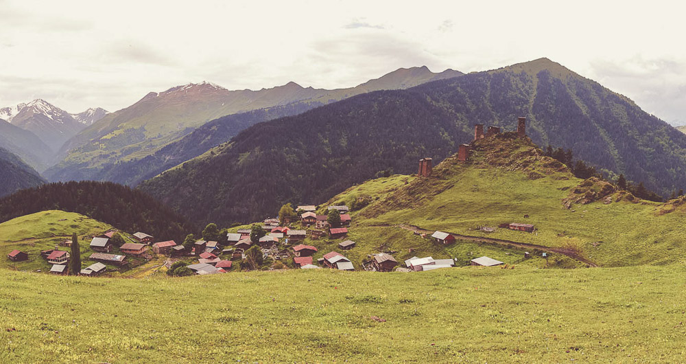 Village of Omalo in Tusheti in Georgia